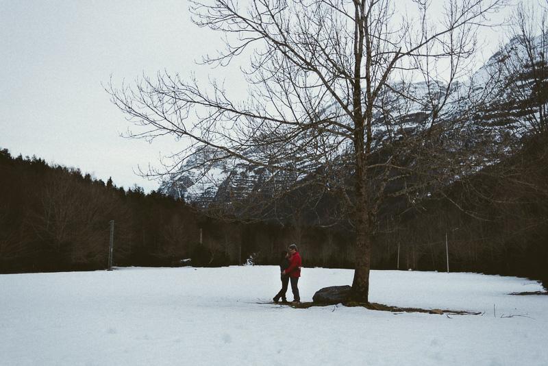 Fotógrafos Huesca preboda en la nieve