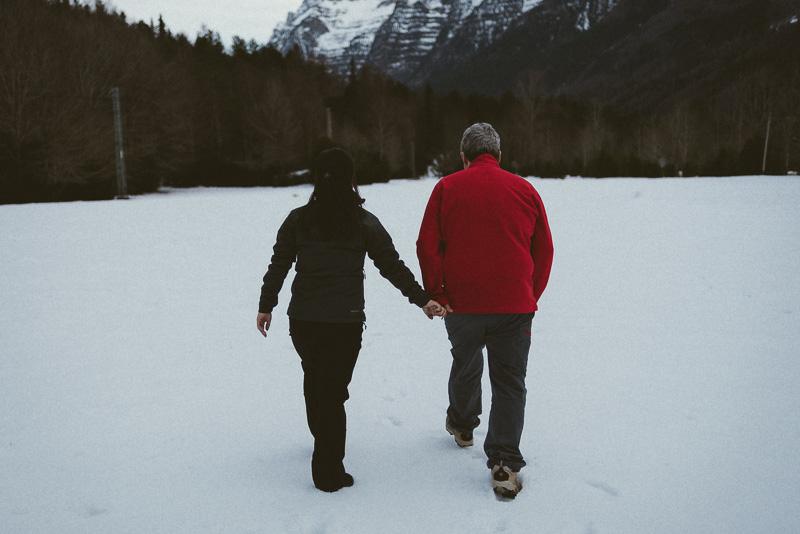pareja nieve